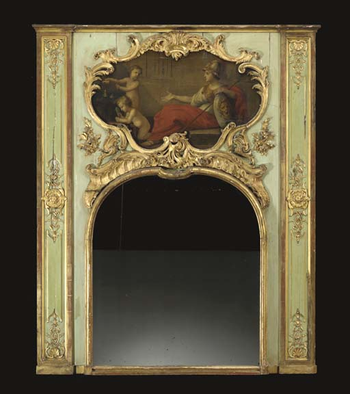 A LOUIS XV GREEN STAINED AND PARCEL GILT TRUMEAU MIRROR,