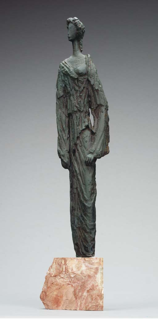 A SPANISH PATINATED BRONZE FIGURE OF A WOMAN ENTITLED 'HELENCIA',
