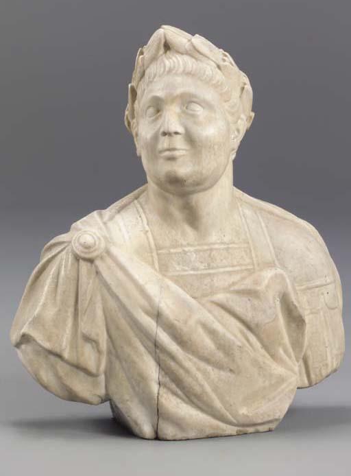 AN ITALIAN WHITE MARBLE BUST OF A ROMAN,