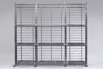 A PATINATED METAL ETAGERE,