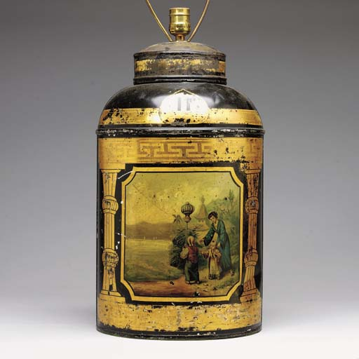 A CHINESE EXPORT TOLE PEINTE TEA CANNISTER MOUNTED AS A LAMP
