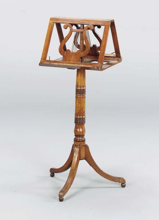 A GEORGE IV BRASS INLAID MAHOGANY MUSIC STAND,