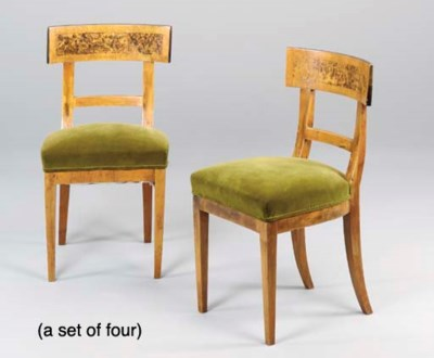 A SET OF FOUR BIEDERMEIER MAPL