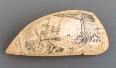 A scrimshaw whale's tooth
