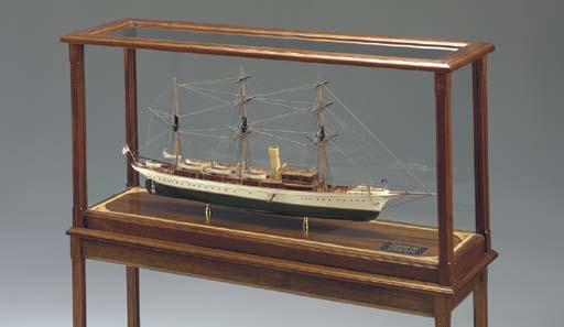 A static display model of the sail/steam yacht Aphrodite