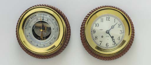 An American Bulkhead mounted clock and barometer set from the yacht Sea Cloud