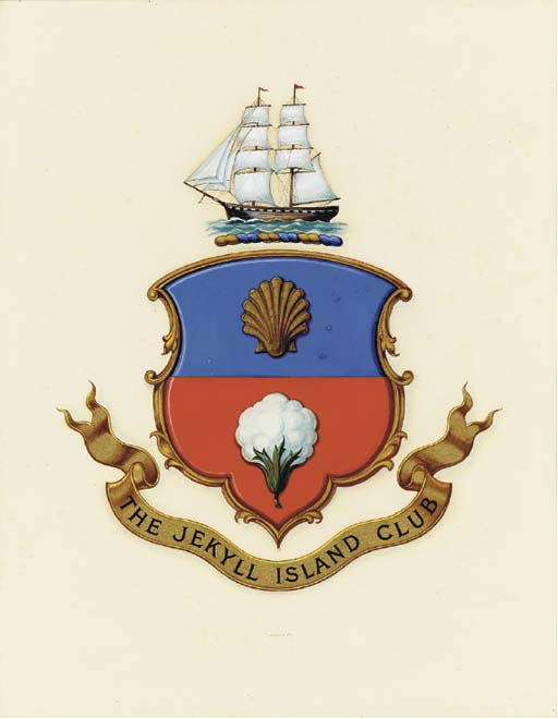 A coat of arms for the Jekyll Island Club with the slave ship Wanderer