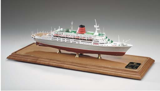 A fine scale model of the S.S. Vista Fjord for the Cunard Line