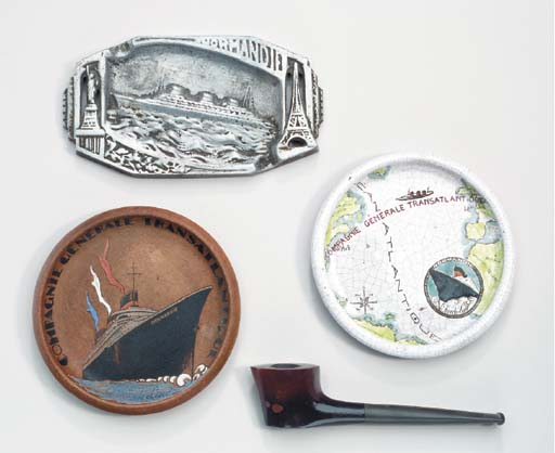 Three ashtrays and a pipe from