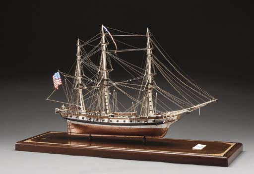 A very fine scale model of the American Frigate U.S.S. Essex**