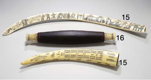 A mahogany and scrimshaw rolli