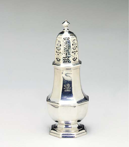 A GEORGE I SILVER CASTER TOGET