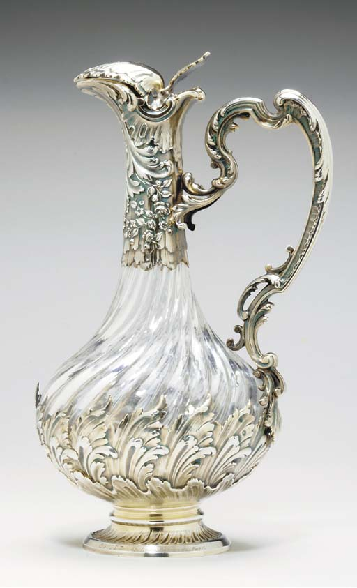 A FRENCH SILVER-MOUNTED CLARET