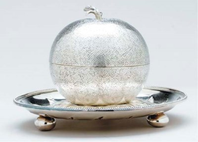 A FRENCH SILVER-PLATED FRUIT-F
