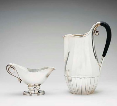 A DANISH SILVER PITCHER AND SA
