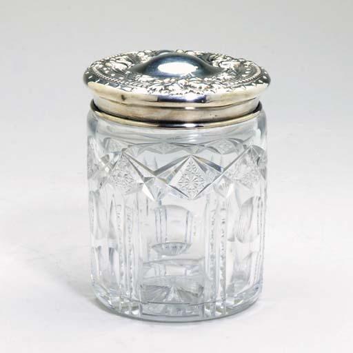 A CUT-GLASS TOBACCO JAR WITH S