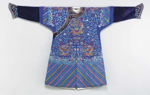 A BLUE-GROUND EMBROIDERED SILK