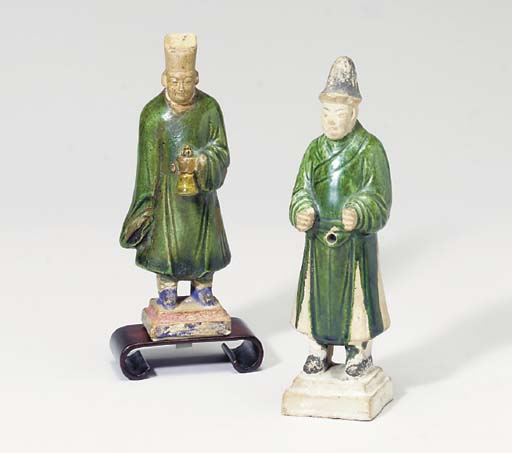 THREE CHINESE GREEN-GLAZED AND