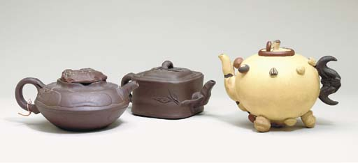 TWO YIXING TEAPOTS TOGETHER WI