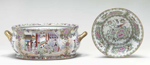 A PORCELAIN JARDINIERE AND A B