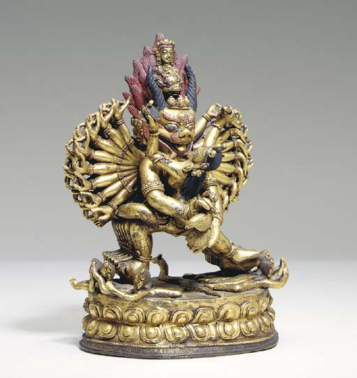 A GILT-BRONZE FIGURE OF YAMANT