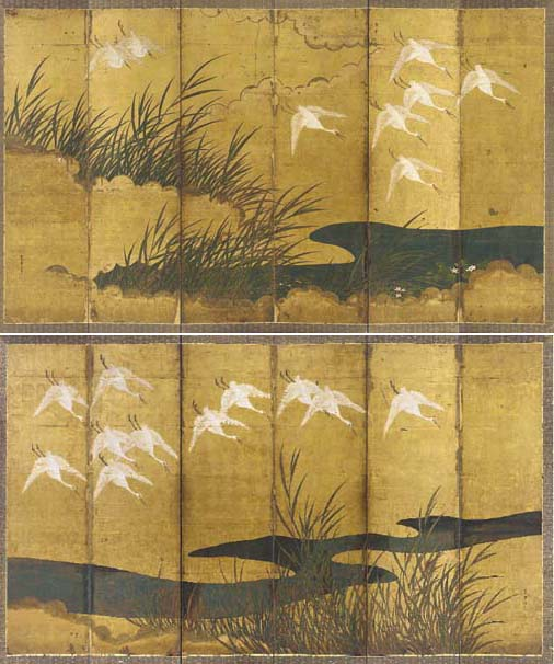 A PAIR OF SIX-PANEL SCREENS,