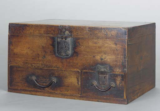 A SMALL HARDWOOD MONEY CHEST,