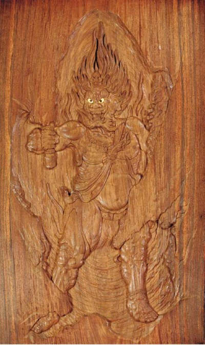 A CARVED AND LACQUERED WOOD PA