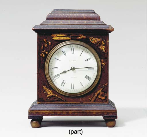 VICTORIAN JAPANNED TABLE CLOCK