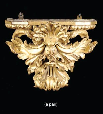 PAIR BAROQUE STYLE CARVED GILT