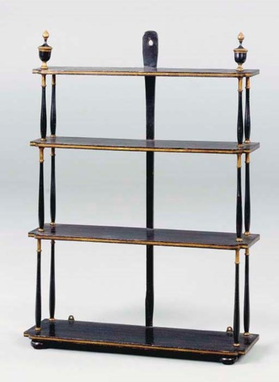 A VICTORIAN EBONIZED AND PARCE