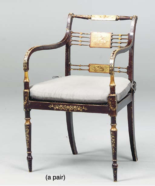 A PAIR OF GEORGE III STYLE BLA