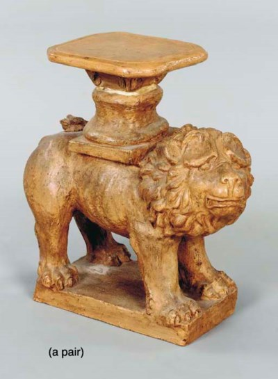 A PAIR OF TERRACOTTA LION FORM