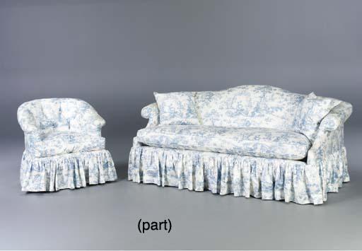 A BLUE AND WHITE TOILE UPHOLST