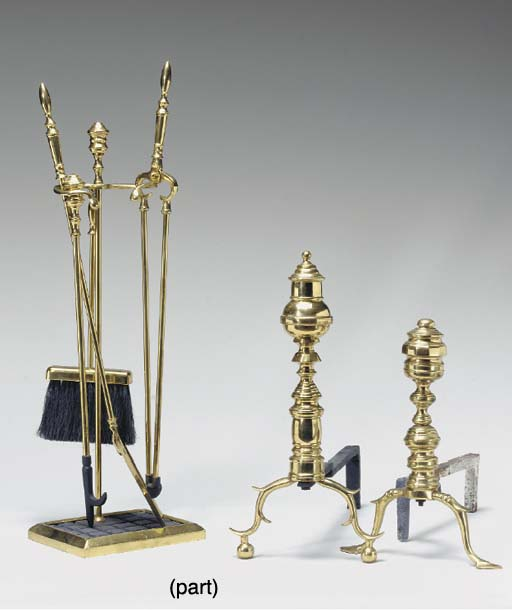 TWO PAIRS OF POLISHED BRASS AN