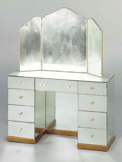 A MIRRORED VANITY TABLE TOGETH