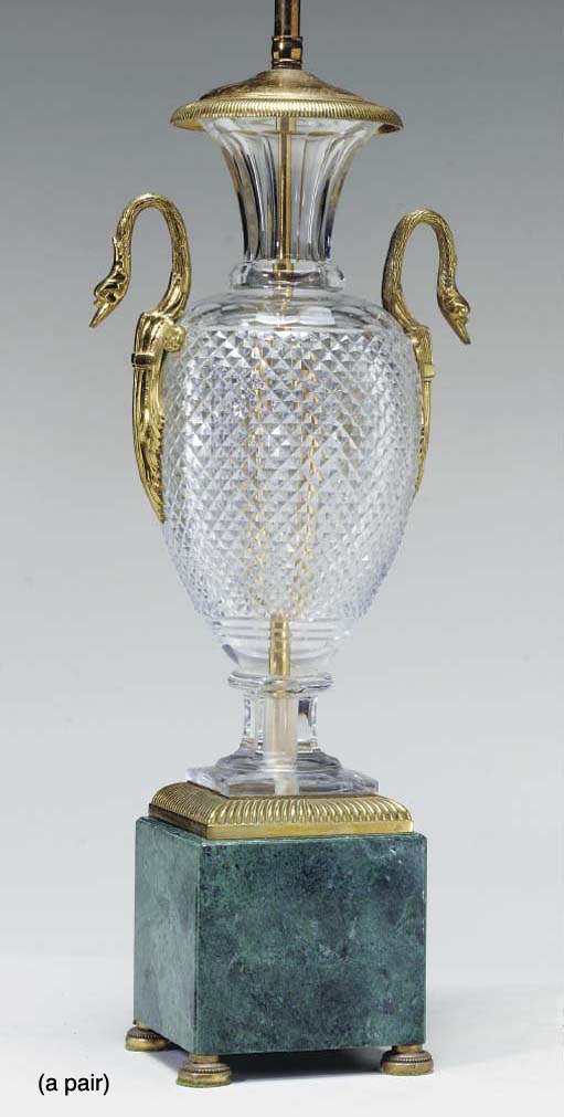 A PAIR OF URN-FORM CUT GLASS A
