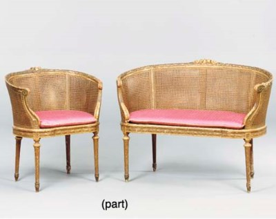 A LOUIS XVI STYLE CANED PAINTE