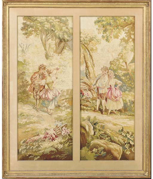 TWO FRENCH PASTORAL TAPESTRY F