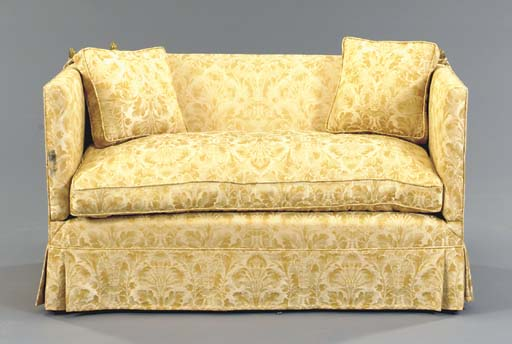 A CREAM AND GOLD DAMASK UPHOLS