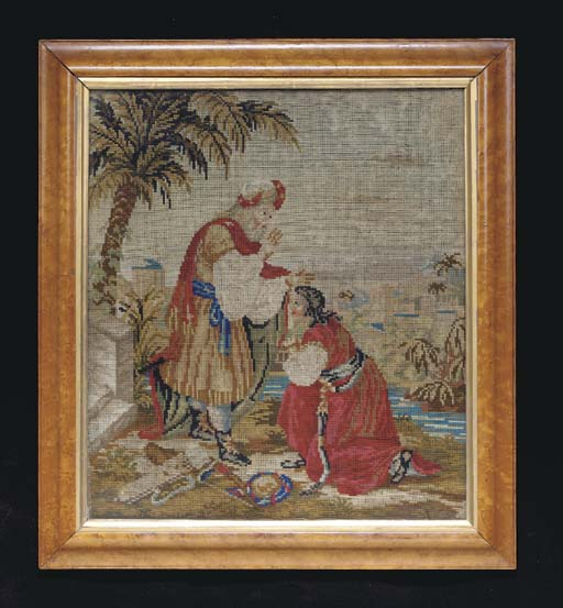 A NEEDLEWORK DEPICTING AN OLD