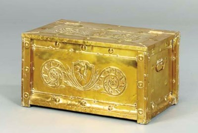 A DUTCH REPOUSSE BRASS-COVERED