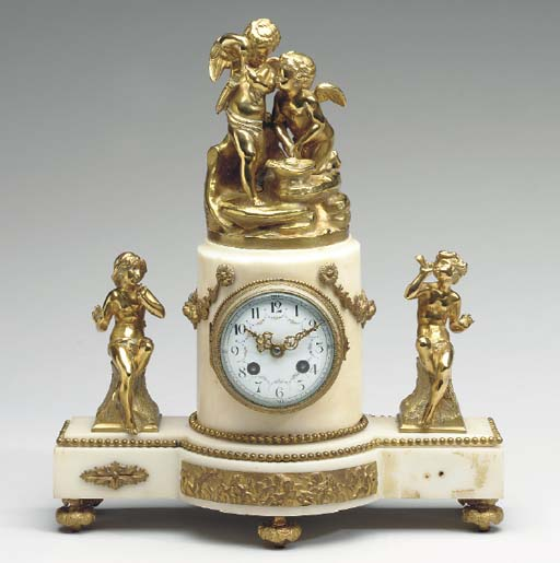 A FRENCH ORMOLU AND MARBLE MAN