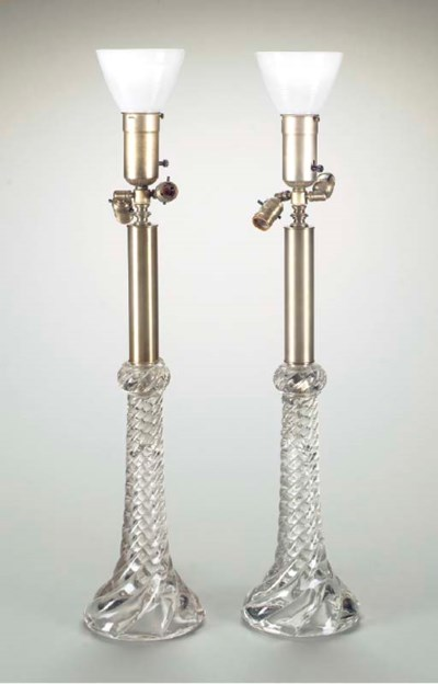 A PAIR OF MOLDED GLASS LAMPS,