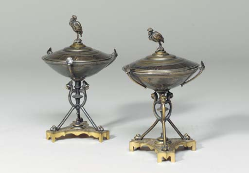 A PAIR OF EMPIRE STYLE SILVERE