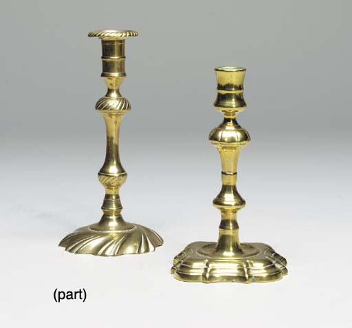 TWO PAIRS OF GEORGE II BRASS C