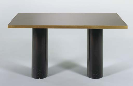 A MIRRORED DINING TABLE,