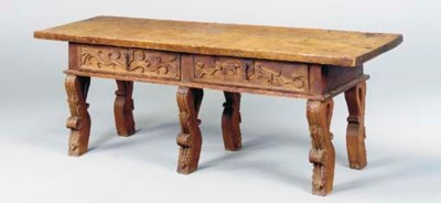 A SPANISH BAROQUE WALNUT AND C