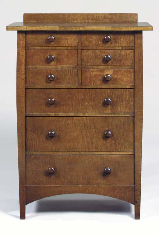A CURLY MAPLE CHEST OF DRAWERS