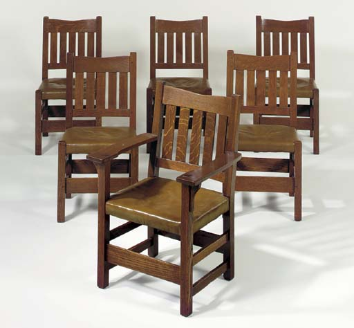 Stickley Dining Room Furniture For Sale: A SET OF SIX OAK V-BACK DINING CHAIRS , GUSTAV STICKLEY